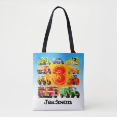 Custom Name Kid's 3rd Birthday Construction Truck Tote Bag