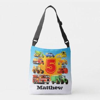 Custom Name Kid's 5th Birthday Construction Truck Crossbody Bag