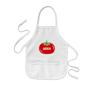 Custom name kids cooking apron with red tomato