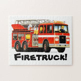 Custom Name Kid's Fire Truck Jigsaw Jigsaw Puzzle