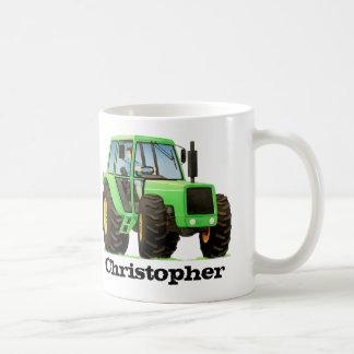 Custom Name Kid's Green Farm Tractor Coffee Mug