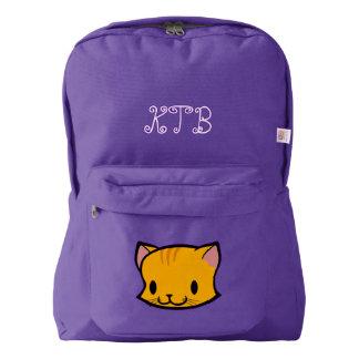 Custom Name Kids School Backpack (cat)