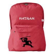 Custom Name Kids School Backpack (ninja)