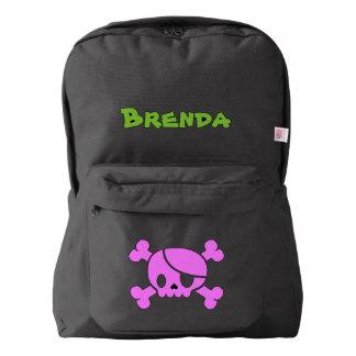 Custom Name Kids School Backpack (pink skull)