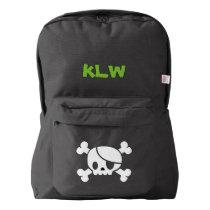 Custom Name Kids School Backpack (skull)