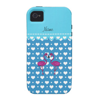 Custom name kissing flamingo blue hearts Case-Mate iPhone 4 cases