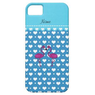 Custom name kissing flamingo blue hearts iPhone 5 covers