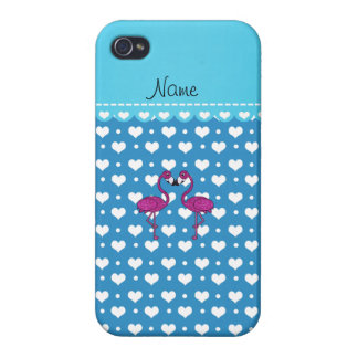 Custom name kissing flamingo blue hearts case for iPhone 4