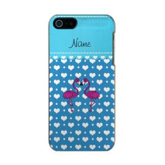 Custom name kissing flamingo blue hearts incipio feather® shine iPhone 5 case
