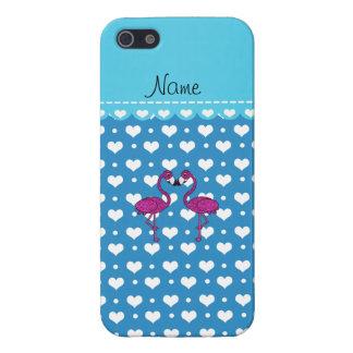 Custom name kissing flamingo blue hearts iPhone 5/5S cases