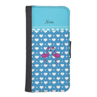 Custom name kissing flamingo blue hearts iPhone 5 wallet
