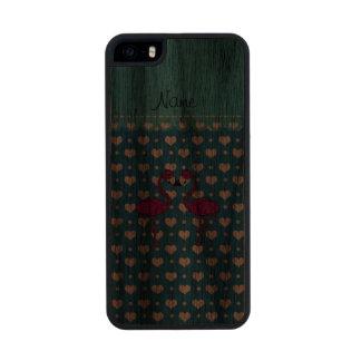 Custom name kissing flamingo blue hearts carved® walnut iPhone 5 slim case