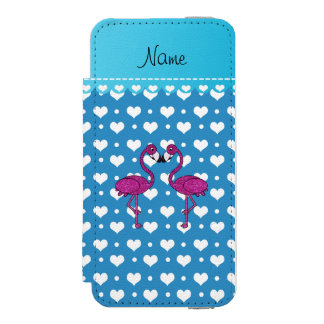 Custom name kissing flamingo blue hearts incipio watson™ iPhone 5 wallet case