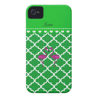 Custom name kissing flamingo green moroccan Case-Mate iPhone 4 cases