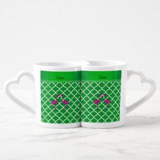 Custom name kissing flamingo green moroccan coffee mug set