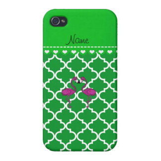 Custom name kissing flamingo green moroccan case for iPhone 4