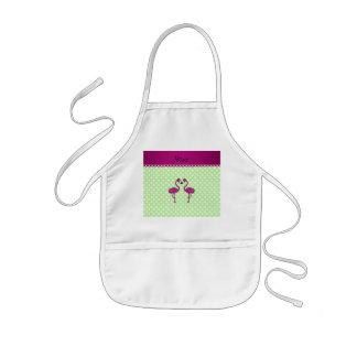 Custom name kissing flamingo green polka dots kids' apron