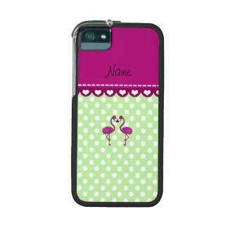 Custom name kissing flamingo green polka dots iPhone 5/5S covers