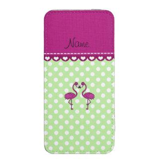 Custom name kissing flamingo green polka dots iPhone 5 pouch
