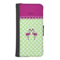 Custom name kissing flamingo green polka dots phone wallet