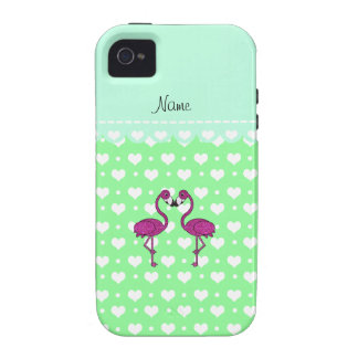 Custom name kissing flamingo light green hearts Case-Mate iPhone 4 cases