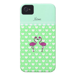 Custom name kissing flamingo light green hearts iPhone 4 case