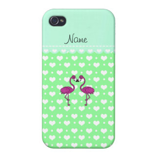 Custom name kissing flamingo light green hearts iPhone 4 cases