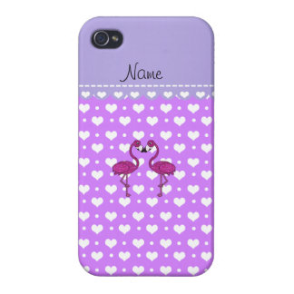 Custom name kissing flamingo purple hearts case for iPhone 4