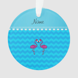 Custom name kissing flamingo sky blue chevrons