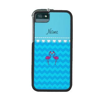 Custom name kissing flamingo sky blue chevrons iPhone 5 cases