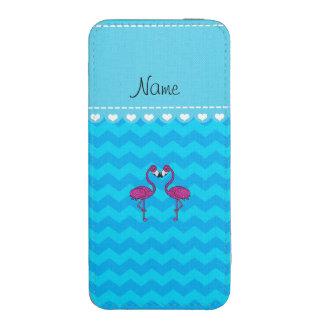 Custom name kissing flamingo sky blue chevrons iPhone 5 pouch