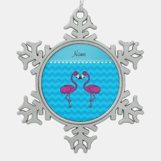 Custom name kissing flamingo sky blue chevrons ornament