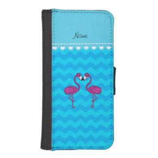 Custom name kissing flamingo sky blue chevrons iPhone 5 wallet case