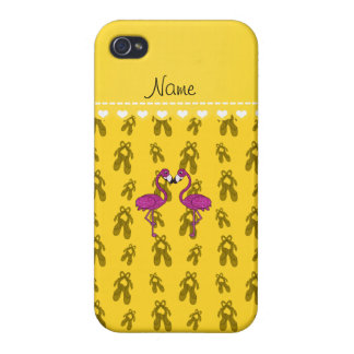 Custom name kissing flamingo yellow ballet shoes iPhone 4 case