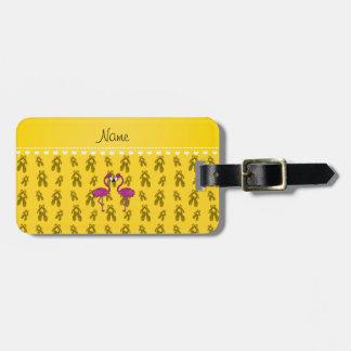 Custom name kissing flamingo yellow ballet shoes bag tags