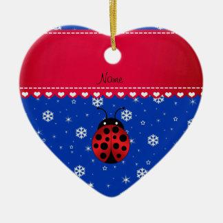 Custom name ladybug blue snowflakes red stripe ceramic ornament