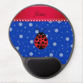 Custom name ladybug blue snowflakes red stripe gel mouse pads