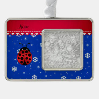 Custom name ladybug blue snowflakes red stripe ornament