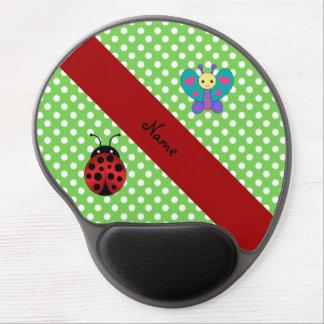 Custom name ladybug butterfly green polka dots gel mouse mats