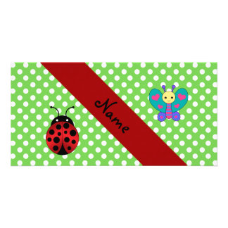 Custom name ladybug butterfly green polka dots customized photo card