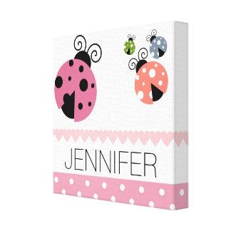 Custom name Ladybug Pink Polka Dot Canvas Print