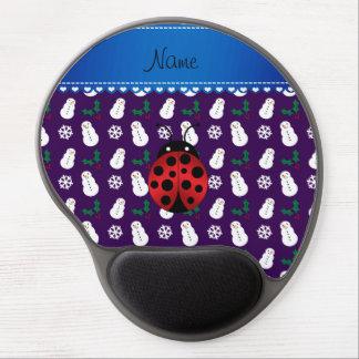 Custom name ladybug purple snowmen blue stripe gel mousepads