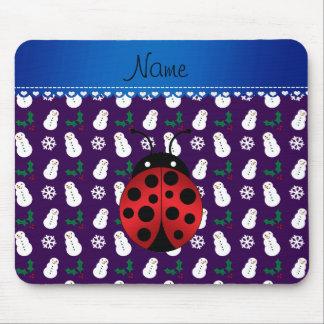 Custom name ladybug purple snowmen blue stripe mouse pad
