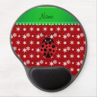 Custom name ladybug red snowflakes green stripe gel mouse pads