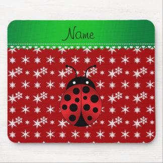 Custom name ladybug red snowflakes green stripe mousepads