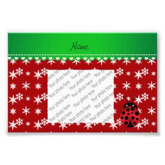 Custom name ladybug red snowflakes green stripe photo