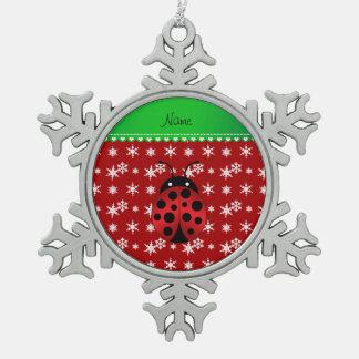 Custom name ladybug red snowflakes green stripe snowflake pewter christmas ornament