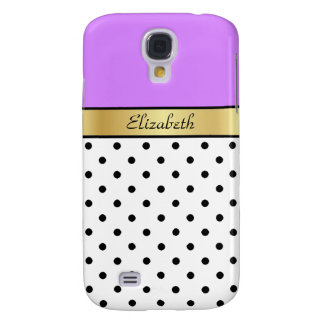 Custom Name Lavender Purple White Black Polka Dots Samsung Galaxy S4 Case