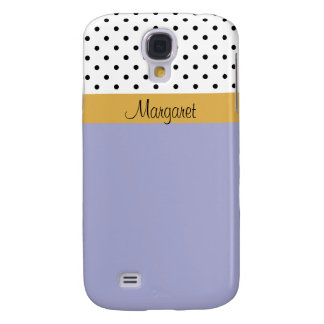 Custom Name Lavender Violet Black Dots Color Block Galaxy S4 Cover
