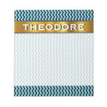 [ Thumbnail: Custom Name + Light Blue & Black Wave Pattern Notepad ]